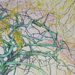 Fließende Kraft (2013) - Leim auf Leinwand - 180 x 120 cm (3-teilig) - [in privater Sammlung]