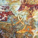 7000 zurück (2013) - Leim auf Leinwand - 70 x 130 cm (3-teilig)