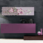Quadri Floreali </br> Colore: glicine - decoro fiore rosa </br> Codice: SI-075-B | Misura: 152x52 cm </br> Codice: SI-075 | Misura: 152x42 cm