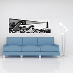Quadri Paesaggi </br> Colore: bianco - decoro nero </br>  Codice: SI-176   Misura: 180x60 cm
