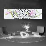 Quadri Floreali </br> Colore: bianco - decoro fiore rosa </br> Codice: SI-086-B | Misura: 152x52 cm </br> Codice: SI-086 | Misura: 152x42 cm