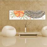 Quadri Floreali </br> Colore: panna - decoro fiore arancio </br> Codice: SI-088-B | Misura: 152x52 cm </br> Codice: SI-088 | Misura: 152x42 cm