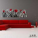Quadri Floreali </br> Colore: bianco - nero - decoro fiore rosso </br> Codice: SI-214 | Misura: 180x55 cm