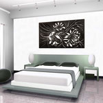 Quadri Floreali </br> Colore: nero - decoro bianco argento </br> Codice: SI-137 | Misura: 150x100 cm </br> Codice: SI-137M | Misura: 100x67 cm
