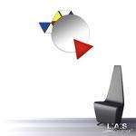 Specchiere </br> Colore: bianco - decoro colori primari - applicazione rosso </br> Codice: SI-205Q-SP | Misura: 82x73 cm