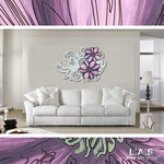 Quadri Floreali </br> Colore: bianco laccato - decoro fiore viola </br> Codice: SI-100 | Misura: 150x100 cm </br> Codice: SI-100M | Misura: 100x67 cm