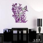Quadri Floreali </br> Colore: violetto - grigio verde - decoro glicine </br> Codice: SI-215 | Misura: 78x90 cm