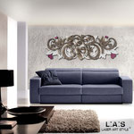 Novità </br> Colore: rosa chiaro - marrone shabby - decoro porpora violetto </br> Codice: SI-212 | Misura: 180x60 cm