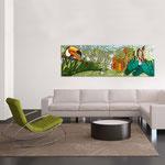 Quadri Paesaggi </br> Colore: bianco - decoro verde arancio </br>  Codice: SI-130   Misura: 180x60 cm
