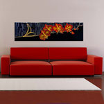 Quadri Floreali </br> Colore: nero - decoro fiore rosso arancio </br> Codice: SI-087-B | Misura: 152x52 cm </br> Codice: SI-087 | Misura: 152x42 cm