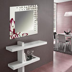 Specchiere </br> Colore: panna - decoro fiore bordeaux </br> Codice: SI-075Q-SP | Misura: 90x90 cm