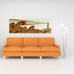 Quadri Paesaggi </br> Colore: sabbia - decoro marrone arancio medio </br>  Codice: SI-176   Misura: 180x60 cm