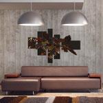 Quadri Floreali </br> Colore: marrone - decoro foglie mattone </br> Codice: SI-136 | Misura: 150x100 cm </br> Codice: SI-136M | Misura: 100x67 cm