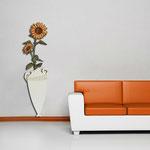 Vasi </br> Colore: vaso panna - decoro fiore arancio mattone </br> Codice: SI-179-D | Misura: 54x176 cm