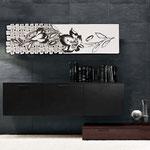 Quadri Floreali </br> Colore: bianco - decoro foglia nero </br> Codice: SI-075-B | Misura: 152x52 cm </br> Codice: SI-075 | Misura: 152x42 cm