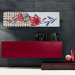 Quadri Floreali </br> Colore: verde chiaro - decoro fiore rosso </br> Codice: SI-075-B | Misura: 152x52 cm </br> Codice: SI-075 | Misura: 152x42 cm