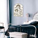 Quadri Sacri </br> Colore: bianco - decoro antracite argento </br> Codice: SI-230 | Misura: 30x40 cm