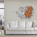 Quadri Floreali </br> Colore: panna laccato - decoro fiore arancio </br> Codice: SI-100 | Misura: 150x100 cm </br> Codice: SI-100M | Misura: 100x67 cm