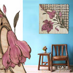 Quadro Shabby Chic </br> Colore: panna - marrone invecchiato - decoro fiore porpora violetto </br> Codice: SI-075Q | Misura: 90x90 cm