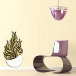 Vasi </br> Colore: vaso bianco - decoro pianta verdone bordeaux </br> Codice: SI-191-E | Misura: 47x89 cm