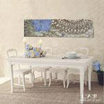 Quadri Floreali </br> Colore: verde chiaro decoro fiore salmone </br> Codice: SI-088-B | Misura: 152x52 cm </br> Codice: SI-088 | Misura: 152x42 cm