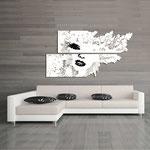 Quadri figurativi </br> Colore: bianco - nero </br> Codice: SI-156   Misura: 210x120 cm