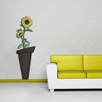 Vasi </br> Colore: vaso marrone - decoro fiore giallo </br> Codice: SI-179-B | Misura: 57x178 cm