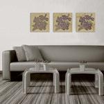 Quadri Floreali </br> Colore: nocciola - decoro fiore viola  </br> Codice: SI-102 | Misura: tris 45x45 cm/cad