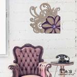 Orologi </br> Colore: cipria - decoro fiore viola </br> Codice: SI-196L | Misura: 90x90 cm </br> Codice:SI-196 | Misura: 65x65 cm