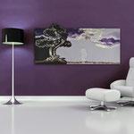 Quadri Paesaggi </br> Colore: marrone - glicine/decoro viola </br>  Codice: SI-177   Misura: 170x70 cm
