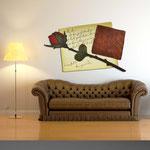 Quadri Floreali </br> Colore: sabbia - decoro fiore rosso scuro </br> Codice: SI-185 | Misura: 150x100 cm
