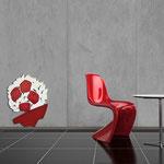 Vasi </br> Colore: vaso rosso - decoro fiore bianco rosso </br> Codice: SI-182-A | Misura: 58x70 cm