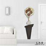 Vasi </br> Colore: vaso marrone - decoro fiore bianco oro marrone </br> Codice: SI-181-B | Misura: 56x180 cm