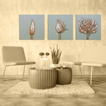 Quadri Floreali </br> Colore: grigio verde - decoro fiore mattone  </br> Codice: SI-101 | Misura: tris 45x45 cm/cad