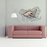 Quadri Floreali </br> Colore: grigio luce - decoro fiore mattone </br> Codice: SI-166 | Misura: 150x100 cm