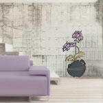 Vasi </br> Colore: vaso antracite - decoro fiore prugna </br> Codice: SI-180-C | Misura: 49x95 cm