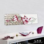 Quadri Floreali </br> Colore: panna - decoro fiore bordeaux </br> Codice: SI-075-B | Misura: 152x52 cm </br> Codice: SI-075 | Misura: 152x42 cm