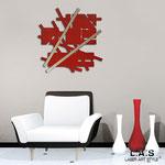 Orologi </br> Colore: rosso - particolari in acciaio inox </br> Codice: SI-195L | Misura: 90x90 cm </br>  Codice: SI-195 | Misura: 65x65 cm