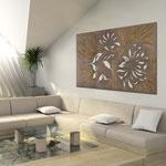 Quadri Floreali </br> Colore: grigio marrone - decoro oro bronzo </br> Codice: SI-137 | Misura: 150x100 cm </br> Codice: SI-137M | Misura: 100x67 cm