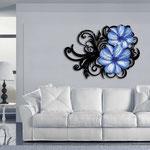 Quadri Floreali </br> Colore: nero laccato - decoro fiore azzurro </br> Codice: SI-100 | Misura: 150x100 cm </br> Codice: SI-100M | Misura: 100x67 cm