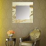 Specchiere </br> Colore: sabbia laccato - foglia oro </br> Codice: SI-092Q-SP | Misura: 90x90 cm