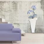 Vasi </br> Colore: vaso bianco - decoro fiore blu </br> Codice: SI-180-B | Misura: 52x140 cm