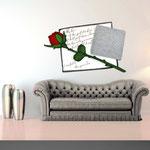Quadri Floreali </br> Colore: bianco - decoro fiore rosso </br> Codice: SI-185 | Misura: 150x100 cm