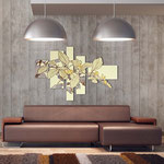 Quadri Floreali </br> Colore: sabbia - decoro foglie oro </br> Codice: SI-136 | Misura: 150x100 cm </br> Codice: SI-136M | Misura: 100x67 cm