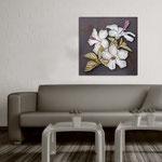 Quadri Floreali </br> Colore: antracite - decoro fiore grigio luce  </br> Codice: SI-102CQ | Misura: 90x90 cm </br> Codice: SI-102CQ-S | Misura: 45x45 cm