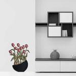 Vasi </br> Colore: vaso nero - decoro fiore rosso </br> Codice: SI-193-E | Misura: 55x74 cm