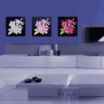 Quadri Floreali </br> Colore: nero - decoro fiore fucsia  </br> Codice: SI-102 | Misura: tris 45x45 cm/cad