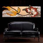 Quadri Floreali </br> Colore: panna - decoro fiore rosso mattone - centrale foglia rame </br> Codice: SI-074-B | Misura: 180x65 cm </br> Codice: SI-074 | Misura: 180x55 cm