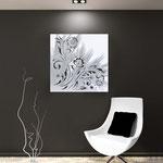 Quadri Floreali </br> Colore: bianco - decoro argento </br> Codice: SI-164 | Misura: 90x90 cm