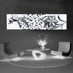 Quadri Floreali </br> Colore: bianco - decoro fiore nero </br> Codice: SI-086-B | Misura: 152x52 cm </br> Codice: SI-086 | Misura: 152x42 cm